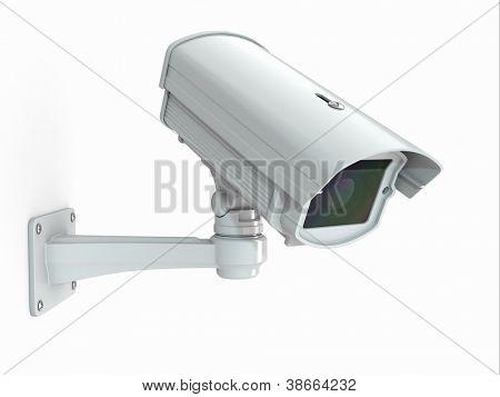 Überwachungskamera auf weißem Hintergrund. 3D