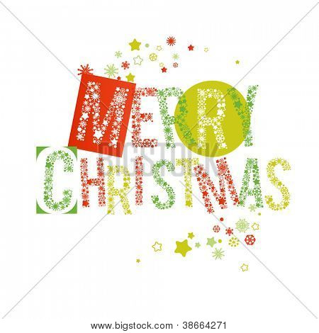 Merry Christmas text in red and green, letters made of snowflakes vector