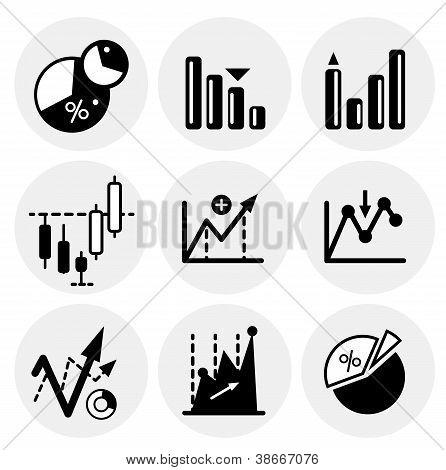 Vector black statistics icons