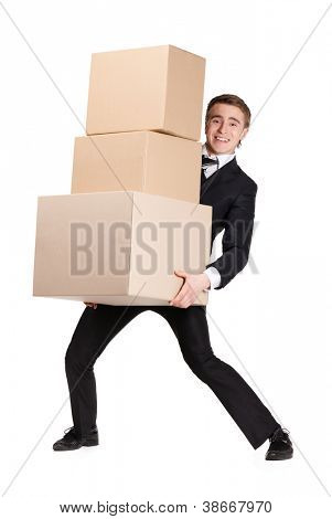 Manager handing pile of boxes, isolated on white