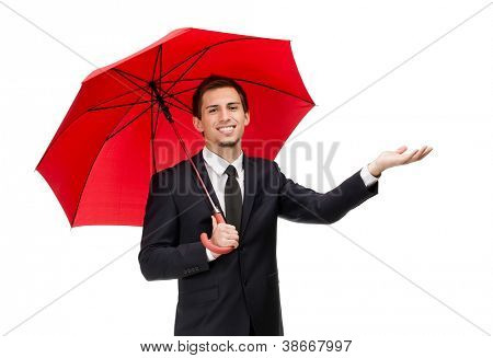 Palming up man with opened red umbrella checks the rain, isolated on white