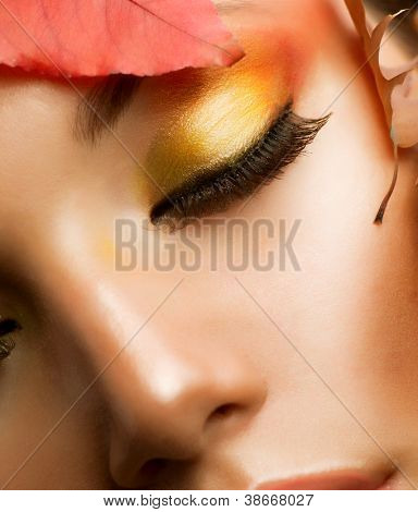 Autumn Makeup.Professional Fall Make-up Closeup