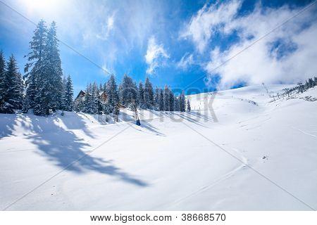Pendiente en el centro de esquí en los Cárpatos. Ucrania