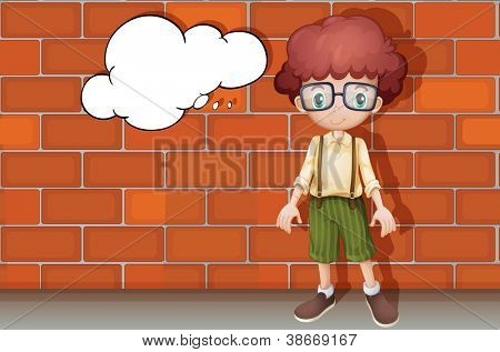 illustration of a young boy standing in front of wall