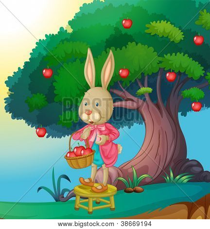 illustration of a rabbit in a beautiful nature