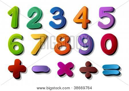 illustration of numbers and maths symbols on white background