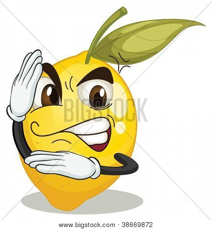 illustration of lemon smiley on white background
