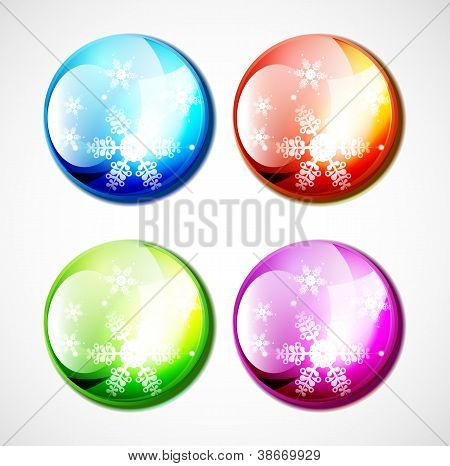 Vector Christmas shiny buttons with snowflakes
