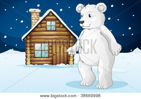 llustration of a cabin and a polar bear in a beautiful nature