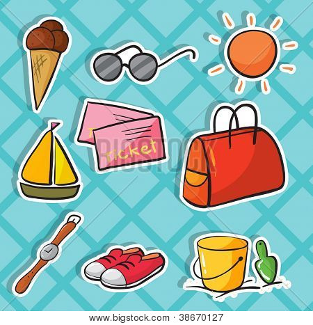 illustration of holiday objects on a blue background