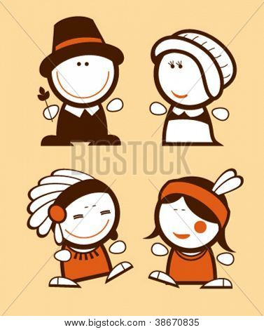 Indians and Pilgrims, historical funny people icons.