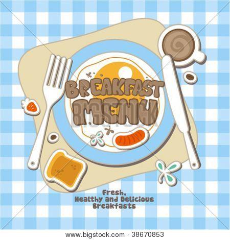 Plantilla de diseño de la tarjeta de menú de desayuno.