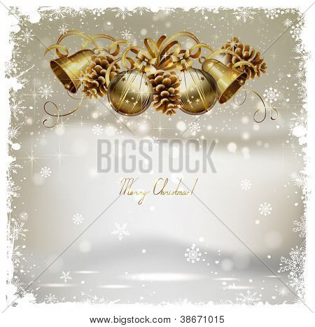 vintage Christmas greeting-card with cones, bells  and baubles