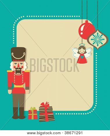 Christmas vintage greeting card with nutcracker and gift boxes