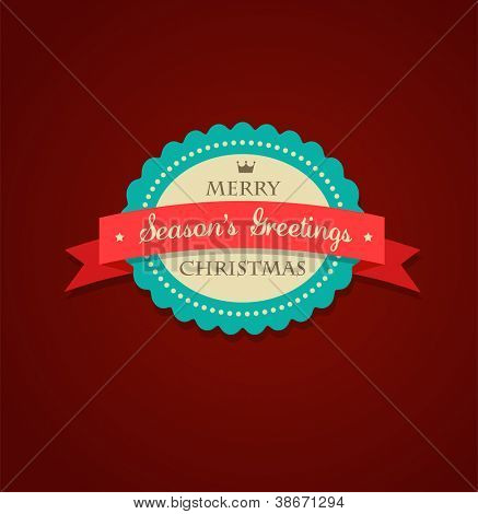 Retro Xmas background with label, ribbon and snowflake
