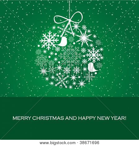 Vector greeting card with christmas ball from snowflakes and birds