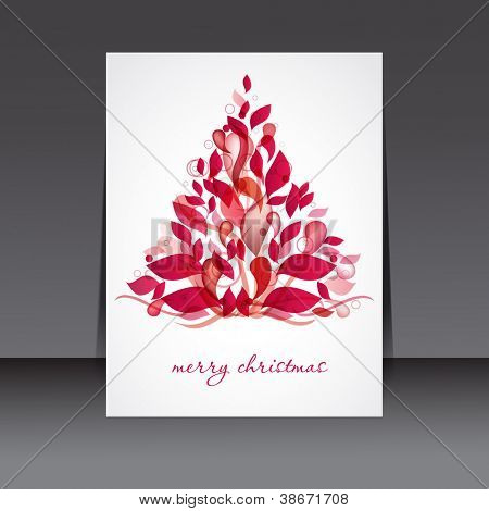 Holiday banner with red christmas  tree