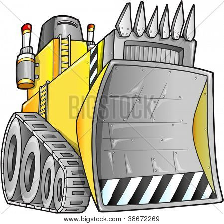 Apocalyptic Bulldozer Vector Illustration