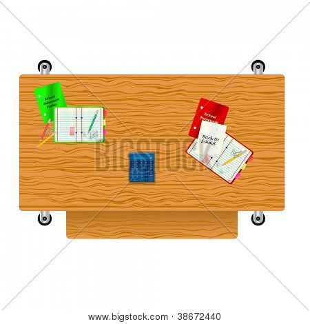 A back to school vector illustration with a desk, various stationary and a calculator saved in EPS10