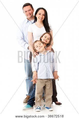 Family standing together - isolated over a white background