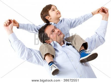 Happy father with his son - isolated over a white background