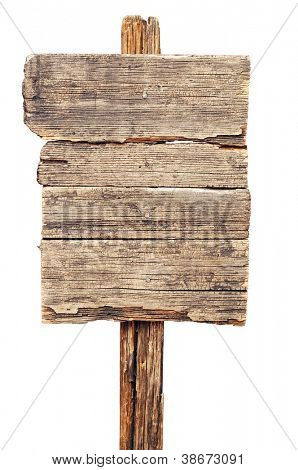 vintage brown wooden signboard against white background