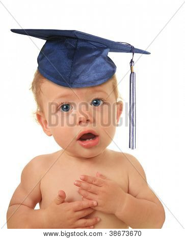 Adorable ten month old baby boy wearing a mortar board.