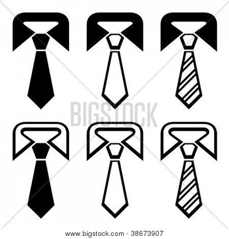 vector tie black symbols