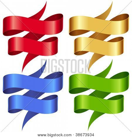 Vector Ribbons set. Multicolored banners isolated on white background