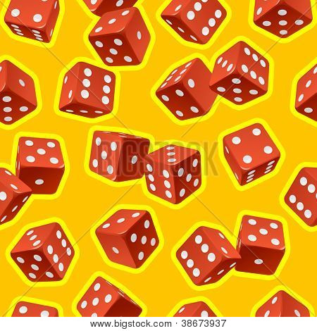 Vector dice seamless background. Red on yellow