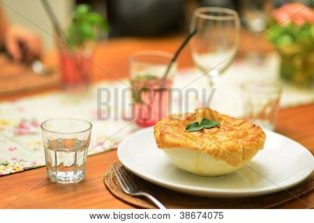 Beef Stew Pie is ready to serve on dining table