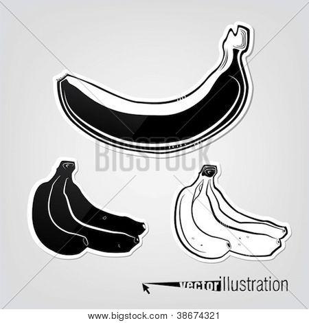 Set of vector decorative bananas