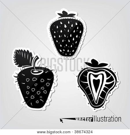 Set of vector decorative strawberries