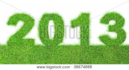 Green 2013 New Year sign isolated on white