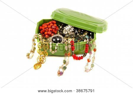 Retro Box With Assorted Vintage Necklaces On White