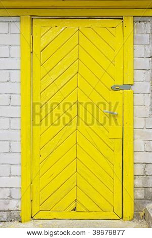 Yellow Old Wooden Door