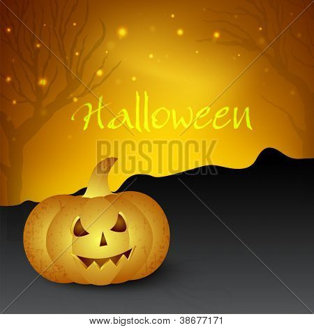 Halloween background with scary pumpkin. EPS 10.