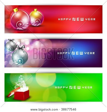Website header or banner set with decorative Xmas balls. EPS 10.