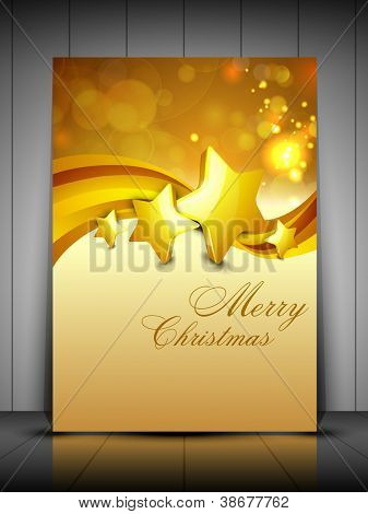 Merry Christmas greeting card, gift card and invitation card with Xmas stars on snowflakes wave background. EPS 10.
