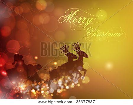 Slee van de kerstman en rendieren op Sneeuwvlok achtergrond voor Merry Christmas festival. EPS 10.