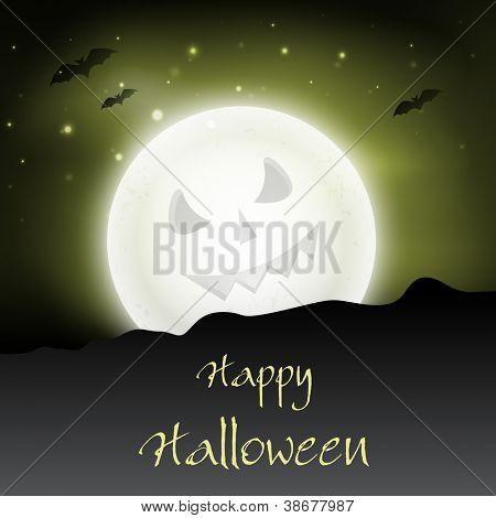 Scary moon in Halloween night. EPS 10.