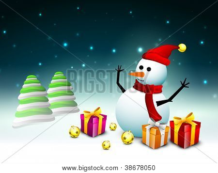 Happy snowman wearing Santa hat and scarf with gift boxes, evening balls and Xmas trees for Merry Christmas background. EPS 10.