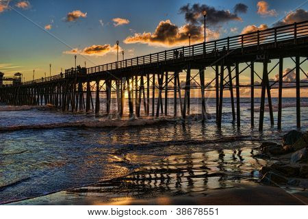 Oceanside Pier at Sunset - Oceanside, California, USA