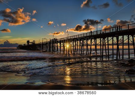 Sunset at the Oceanside Pier. Oceanside is approximately 40 miles north of San Diego, California.