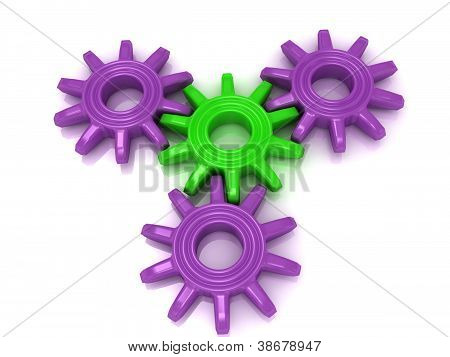 4 Colored Gear On A White Background