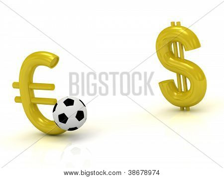 Euro Against The Dollar With The Ball In Soccer