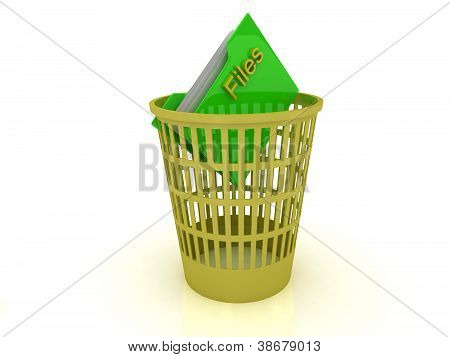 Yellow Basket With A Folder For The Files