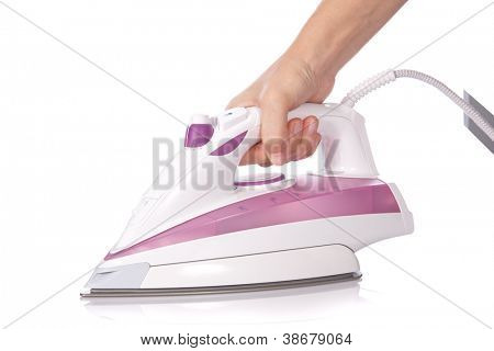 Ironing with a modern steam flat iron isolated on white background