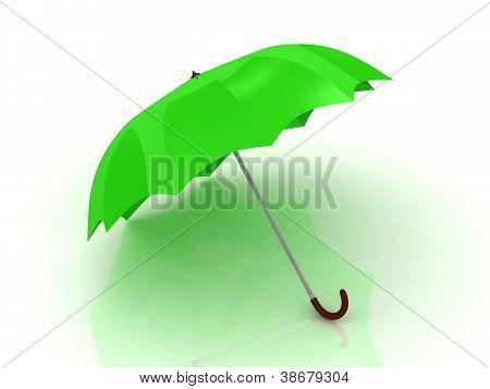 Green Umbrella With Wooden Handle