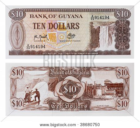 Exotic Currency Money - Ten Dollars Of Guyana